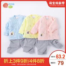 贝贝怡婴儿夹棉套装2019秋冬季宝宝加厚保暖棉服套装婴儿衣服T243