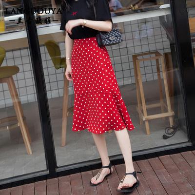 波点半身裙女夏2018新款韩版inc超火鱼尾裙chic港味中长款雪纺裙