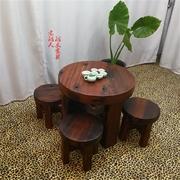 老船木家具船木圆桌圆形茶几茶桌沉船木实木圆台小圆桌 迷你 卧室