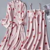 睡裙女春秋 睡裙夏季薄款 睡衣女性感吊带两件套睡袍冰丝绸甜美大码图片
