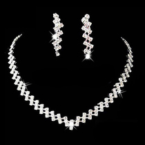 1Set Wedding Party Rhinestone Crystal Necklace + 1 pair Long