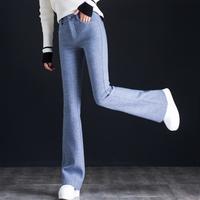 英伦羊毛格子裤女秋冬微喇叭裤女2018新款韩版显瘦高腰毛呢喇叭裤