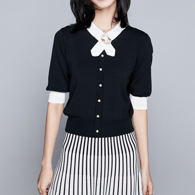 中袖冰丝针织衫女秋季V领薄毛衣套头T恤五分袖修身小香风打底上衣
