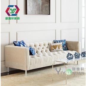 现代北欧双人三人布艺沙发简约美式休闲酒店办公样板房创意皮沙发