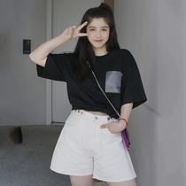 李潇洒胖mm白色牛仔短裤女装大码高腰显瘦短裤子夏季宽松百搭热裤