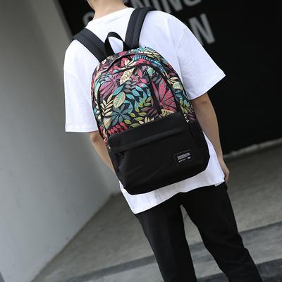 日系复古麻叶男式双肩包多口袋时尚帆布旅行背包青少年学生书包潮