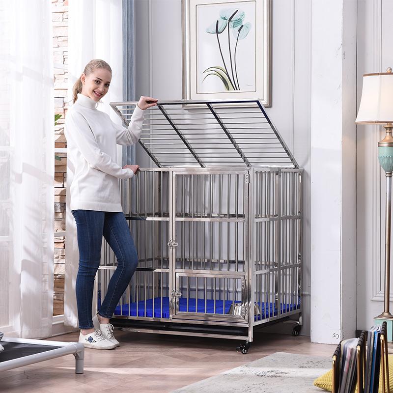 神悦不锈钢狗笼子中大型犬可移动可折叠阿拉斯加金毛L-型宠物笼子