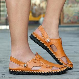 包男鞋子凉拖大凉鞋皮凉鞋休闲夏季透气洞洞鞋包头平跟黑色橡胶
