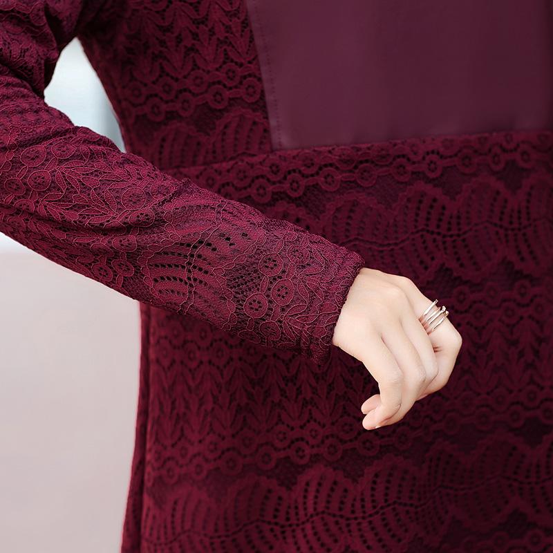 中老年女装秋冬季加绒保暖中长款连衣裙40岁50妈妈装大码打底裙子