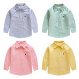Boys cotton long-sleeved shirt 2018 spring and autumn models Korean version of solid color children's clothing children's white baby shirt tide