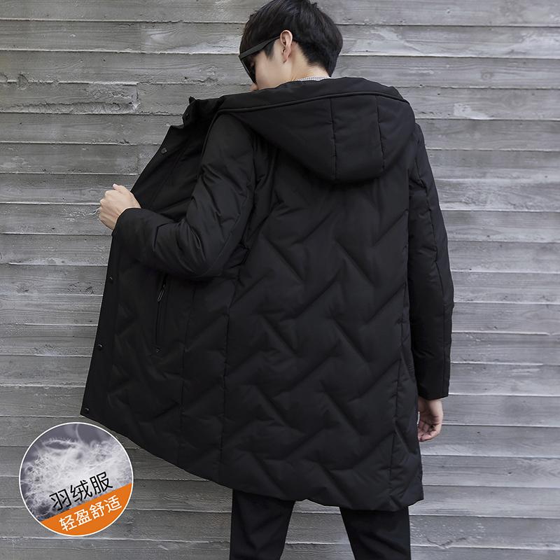 冬季男士羽绒服中长款2018新款韩版潮流男式中青年加厚男装外套