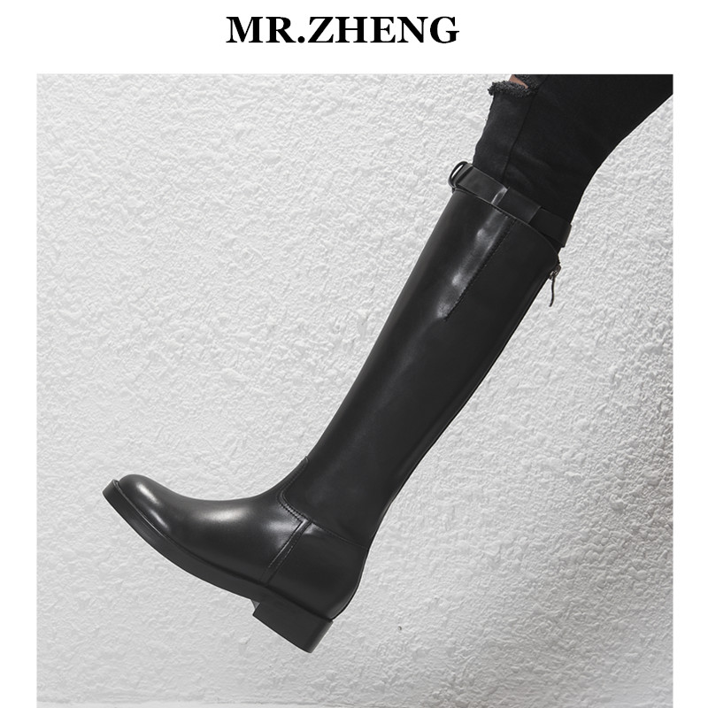 秋冬新款靴子皮靴女厚底长靴欧美真皮平底高筒骑士靴长筒军靴马靴
