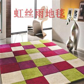 时尚红色方格子地毯卧室茶几床边客厅书房手工编织长方形地毯定制