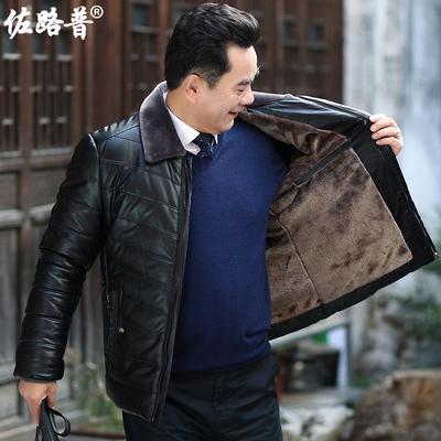 冬季中年男士棉衣爸爸冬装外套男棉服中老年男装加厚加绒保暖棉袄