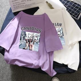 衣服女夏2018新款夏装紫色t恤女学生宽松超火上衣短袖女ins潮半袖
