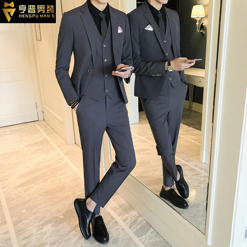 结婚西装男套装休闲修身帅气韩版英伦风新郎伴郎礼服男士西服外套