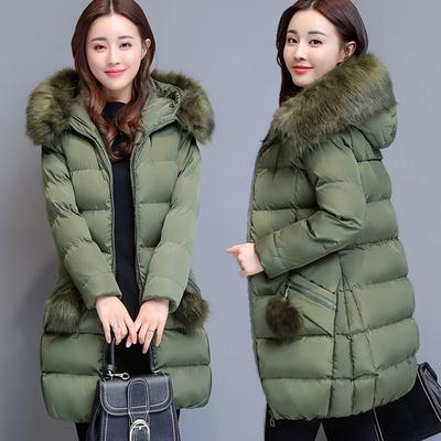 棉服女2018新款冬装棉衣女中长款韩版修身冬天外套大毛领羽绒棉袄