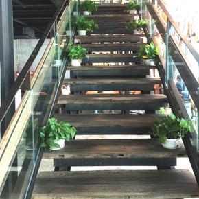 漫咖啡老榆木门板创意楼梯踏板护墙围栏板实木桌面工作台吧台板