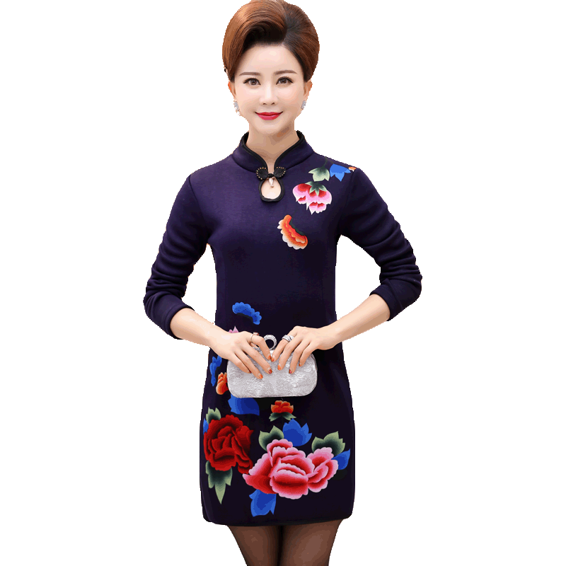 2018新款中年妈妈春秋装旗袍连衣裙中老年女长袖复古裙子洋气上衣