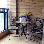 阳台桌椅组合户外庭院家具 欧式铁艺茶几咖啡花园折叠圆桌椅套件