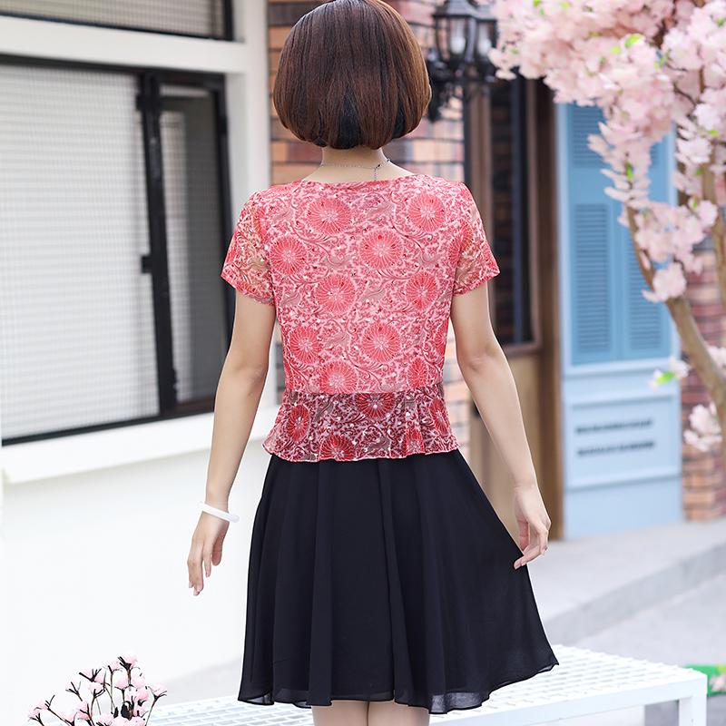 中老年女装夏装短袖连衣裙夏装中年人裙子年轻妈妈装2018新款衣服