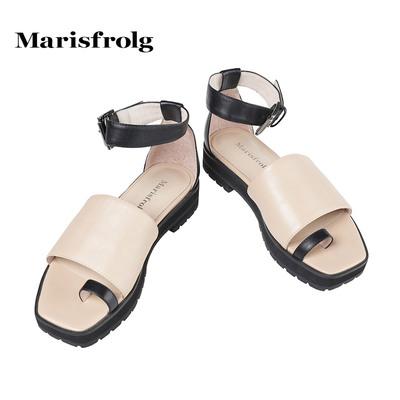 Marisfrolg/玛丝菲尔女装时尚简约气质中跟凉鞋专柜正品夏季女鞋