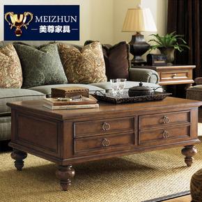 美式乡村实木茶几简约仿古茶桌小户型欧式茶几电视柜组合客厅家具