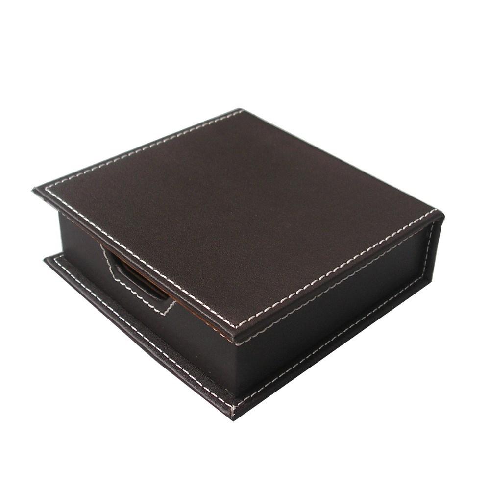 皮革商务办公用品创意便签盒带盖 桌面收纳盒时尚便条座咖色