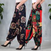 女裝 闊腿燈籠褲 春夏中老年新款 民族風廣場舞褲 高腰寬松加大蘿卜褲