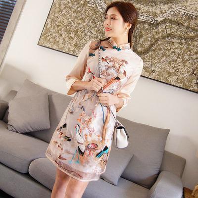 七分袖复古2018新款女刺绣改良旗袍中国风欧根纱修身民族风连衣裙