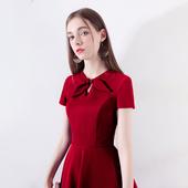 敬酒服新娘2019春款 回门红色连衣裙洋装 结婚订婚小个子礼服短款
