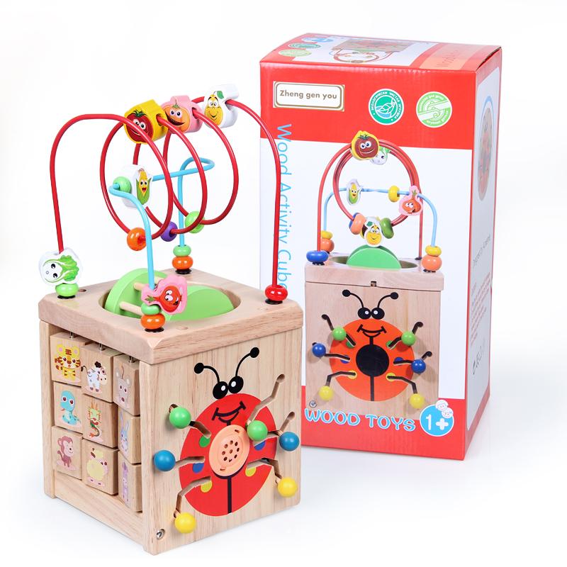 婴幼儿童早教益智木制多功能绕珠百宝箱1-2-3-6周岁男女宝宝玩具