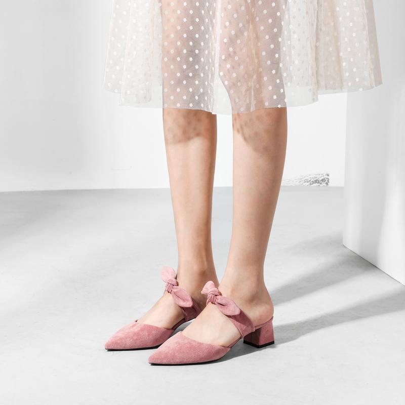迷逑新款包头蝴蝶结半拖鞋女外穿小清新粗跟尖头单鞋温柔仙女鞋子
