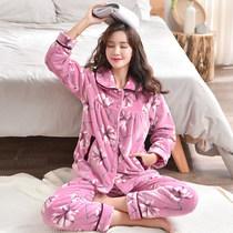 睡衣女士秋冬季珊瑚绒韩版加厚保暖法兰绒冬款加绒大码家居服套装