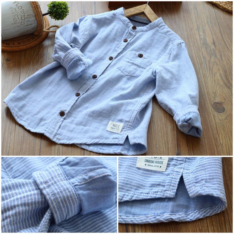 男童条纹棉衬衫