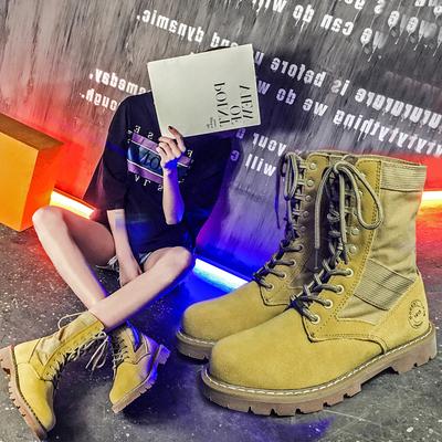 夏季英伦风马丁靴女靴子真皮短靴骑士靴情侣中筒靴沙漠网红瘦瘦靴