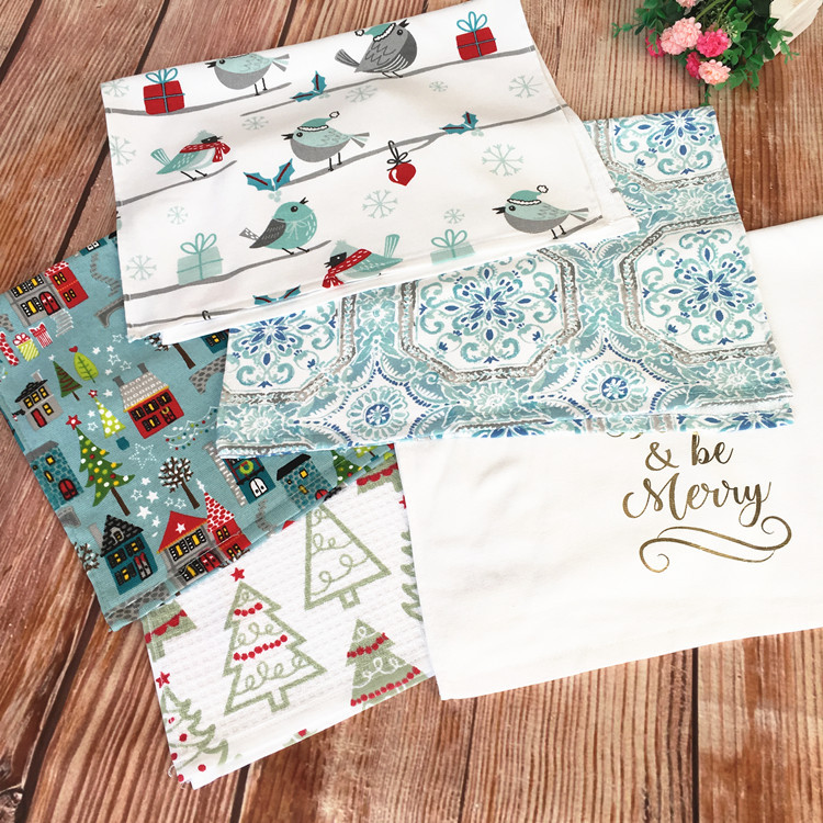 Cotton Christmas Decoration Towel Gift Small Fresh Cute Printed Gauze Breathable Pillow