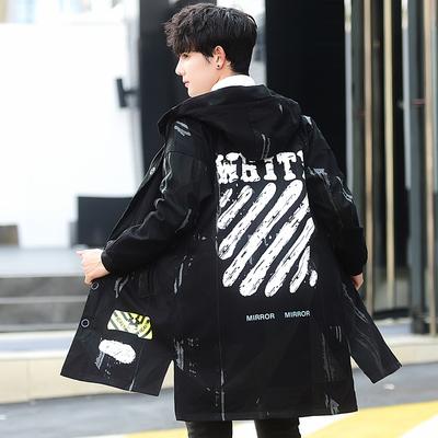 2018新款中长款风衣男连帽时尚个性大衣非主流青年韩版帅气外套潮