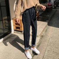 2018春秋新款韩版显瘦宽松高腰老爹直筒九分牛仔裤女学生萝卜裤子