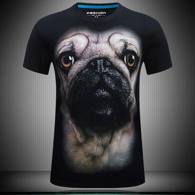 夏季3D短袖t恤男加肥加大码半袖T恤猩猩狗狗狼头立体动物图案衣服