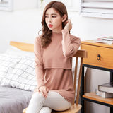 Pregnant breastfeeding spring and autumn coat top pure warm high-necked bottomed cotton pajamas autumn and winter pregnant women breast-feeding moon clothing