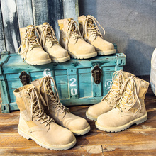 Summer Martin Boots Men's Trend British leather boots with velvet cotton shoes Men's Wear Desert Army Boots