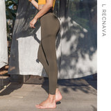 L RECNAVA fitness pants female elastic tight nude sports yoga high waist hips tight nine points pants