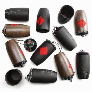 粗陶茶叶罐陶瓷密封罐小号便携迷你旅行家用紫砂罐子复古包装定制