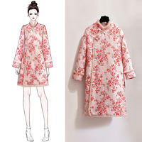 Improved cheongsam female autumn and winter young girls Chinese style thick warm small 袄 袄 服 服 女 女 女 dress