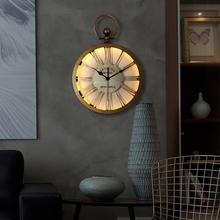 北欧式复古静音餐客厅卧室家用挂表美式乡村时钟创意个性大挂钟表