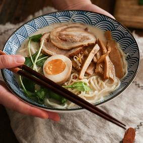 日式拉面碗大汤碗斗笠碗牛肉面碗家用大号陶瓷商用复古面条碗海碗