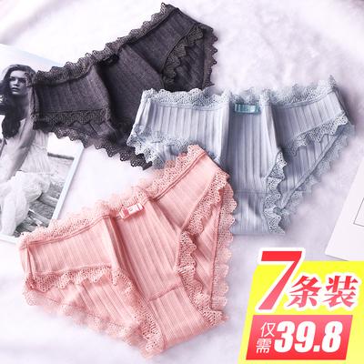 内裤女100%纯棉裆 低腰蕾丝性感 火辣全棉日系少女士无痕三角裤头