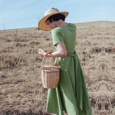 rinka大小姐夏日的一抹清新感  绿色后绑带格子裙 高腰显瘦连衣裙
