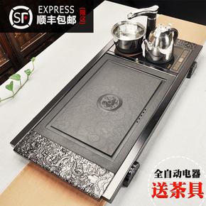 黑檀鸡翅花梨实木乌金石四合一一体新功茶盘全自动电茶炉茶台家用